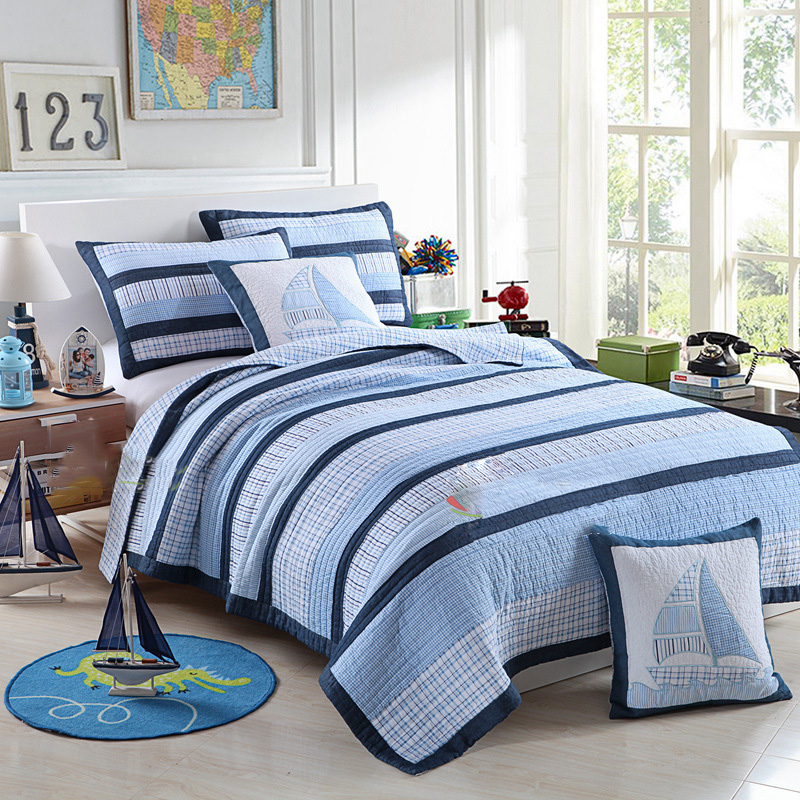 CHAUSUB Patchwork Quilt Set 2PC Twin Size KIDS Cotton Quilts Ocean Style Quilted Bedspread Bed Cover Shams Coverlet Set BeddingCHAUSUB Patchwork Quilt Set 2PC Twin Size KIDS Cotton Quilts Ocean Style Quilted Bedspread Bed Cover Shams Coverlet Set Bedding