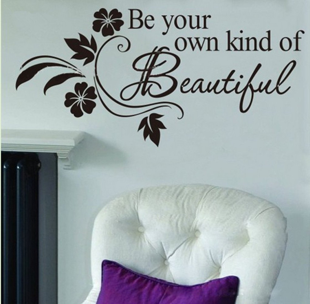 Lamp light wall art decor removable mural vinyl decal sticker purple - Be Your Own Kind Of Beautiful Decorative Vinly Walls Stickers Quotes Decal Home Decoration Saying Wallpaper