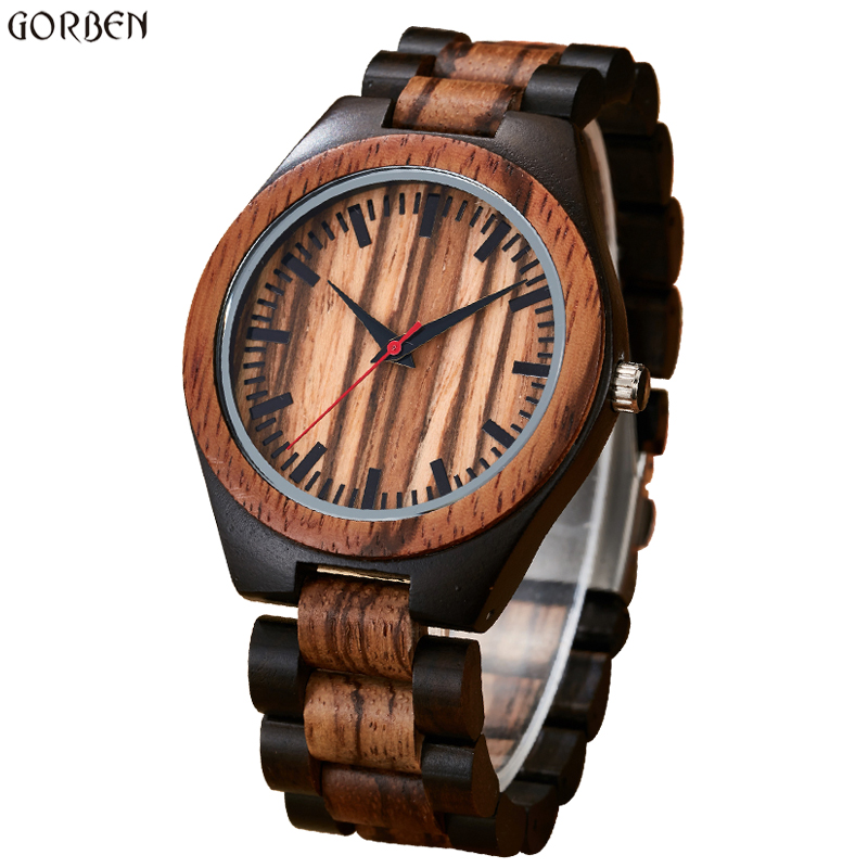 Gorben Round Vintage Zebra Wood Case Men Watch With Ebony Bamboo Wood Face Bamboo Wood Strap Bracelet Watches Cool Modern Gifts