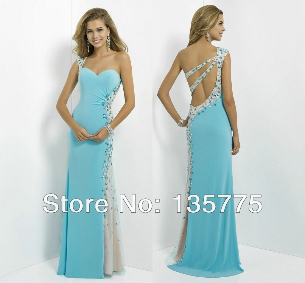 F0025 One Shoulder Cut Outs Back Light Blue Mermaid Prom Dresses ...