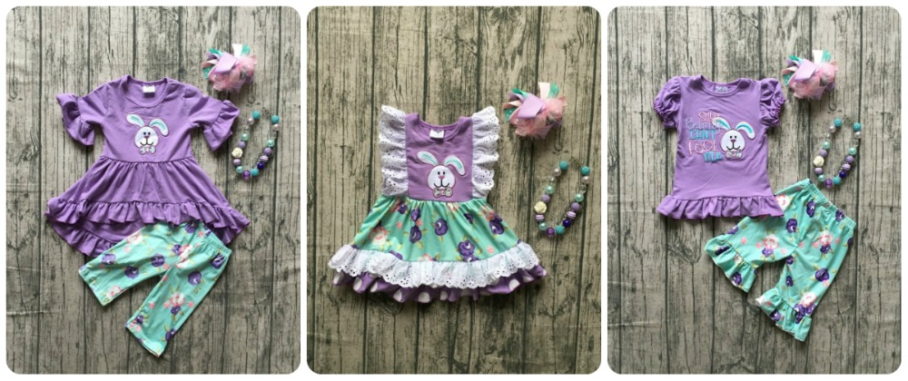 Easter baby girls lavender bunny outfits blue floral children clothes capris short dress ruffle boutique match accessories kids
