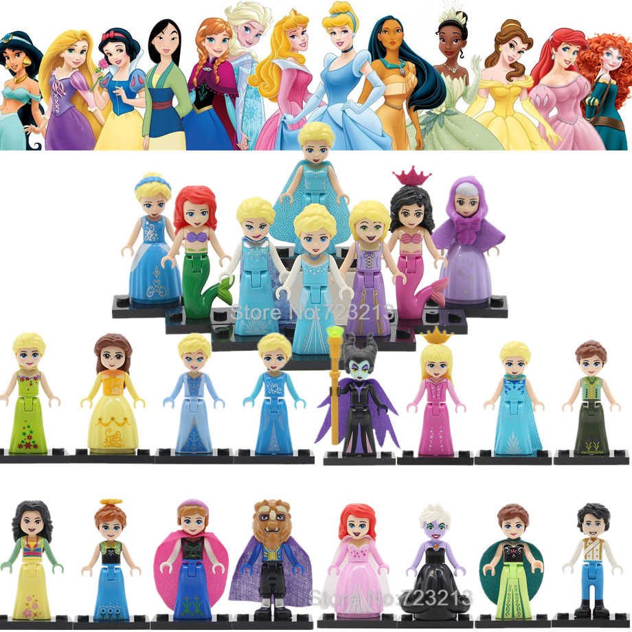 Single Princess Girl Fairy Tale Legoings Figure Belle Mulan Cinderella Anna Ariel Olaf Rapunzel Alana Building Blocks Model Toy