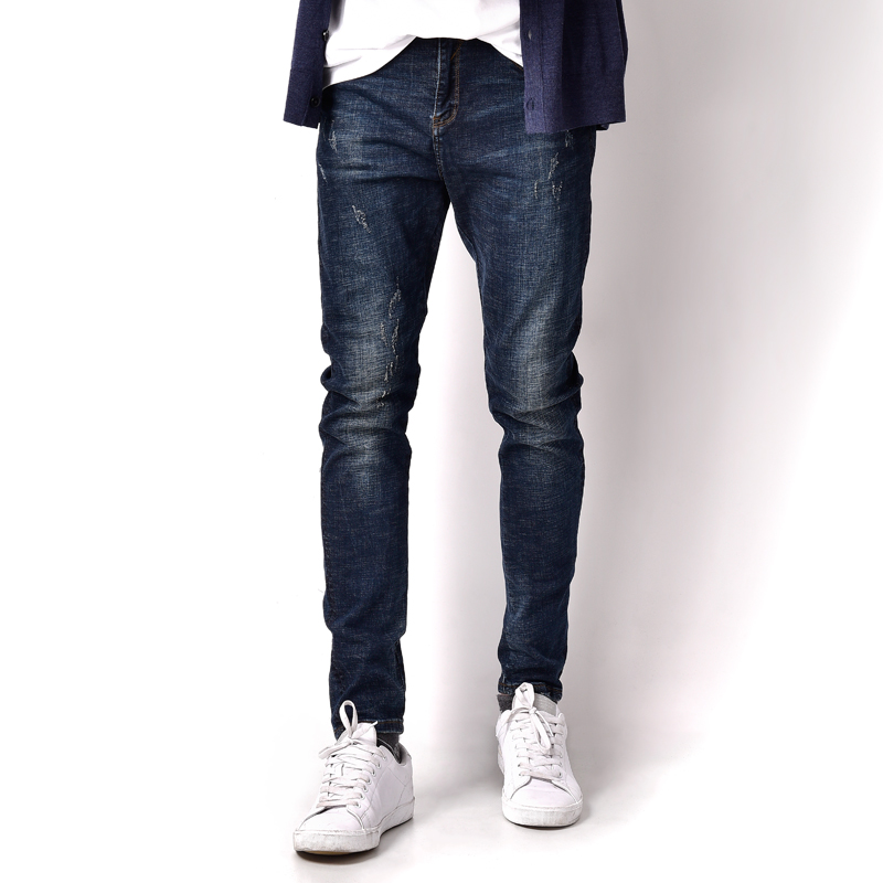 Blue Denim Overalls Elastic Jeans Men High Grade Mid Stripe Distressed Brand Men`s Stretch Jeans Masculino Scratch Pants A3157 men s cowboy jeans fashion blue jeans pant men plus sizes regular slim fit denim jean pants male high quality brand jeans