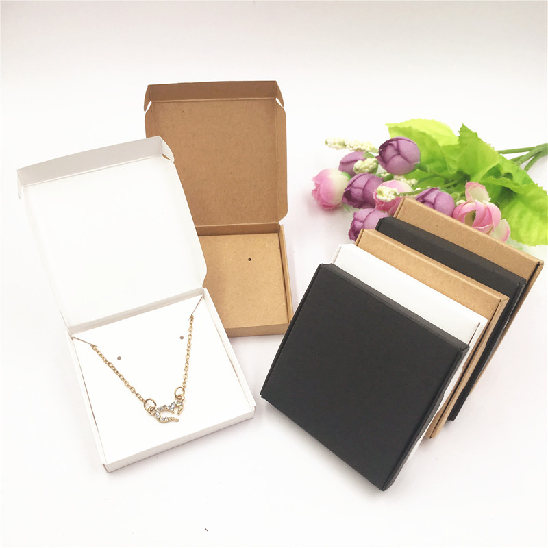 50Pcs Boxes+50Pcs Jewelry Cards Necklace Bracelet Earrings Displays Box Jewelry Organizer Storage Gift Box Brown White Black