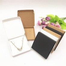 Caixa de joias 50 peças + colar pulseira brincos, 50 peças cartões de jóias caixa de presente organizador caixa de presente marrom branco preto preto