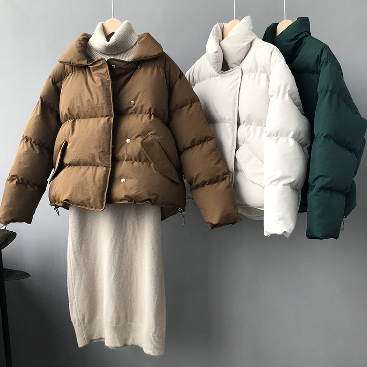 2018 Short Women   Parkas   Sustans Solid Thick Warm Cotton Padding Jackets High Street Female Winter Casual Coats Green