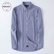 PERIGOT PGM170104 2017 New All Seasons Men's Business Casual Plaid Shirt Male 100% Cotton Classical Shirt Top S-L Light Blue