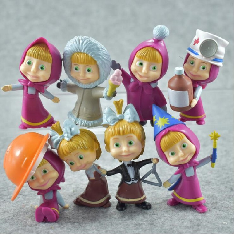 Fly AC 8 Pcs/set High Quality Russian MashaBear Figures Action PVC Doll Toys For Children Birthday/Xmas Gift
