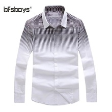 BFSBOYS 2017 Men Dress Eu Size Shirt Full Sleeve Business Striped Casual White Shirts Formal Office Brand for Male Quality A1031