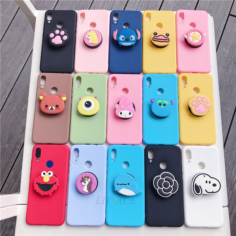 3D Silicone Cartoon Phone Holder Case For Samsung Galaxy Note 10 Plus Note 9 8 5 Cute Stand Soft Tpu Back Cover Fundas Coque