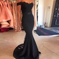 Black Sexy Mermaid Evening Dresses 2017 Short Sleeves Off The Shoulder Lace Long Party Prom Gowns Formal Dresses