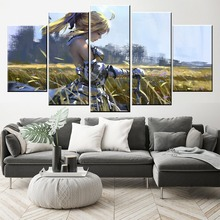 Home Decor Modular Canvas Picture 5 Piece Saber Zero Fate Series WLOP Anime Painting Poster Wall For Wholesale