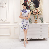 New Arrival Silk Satin Ladies Sexy Mini Short Sleeve Qipao Dress Chinese Traditional Flower Cheongsam Size