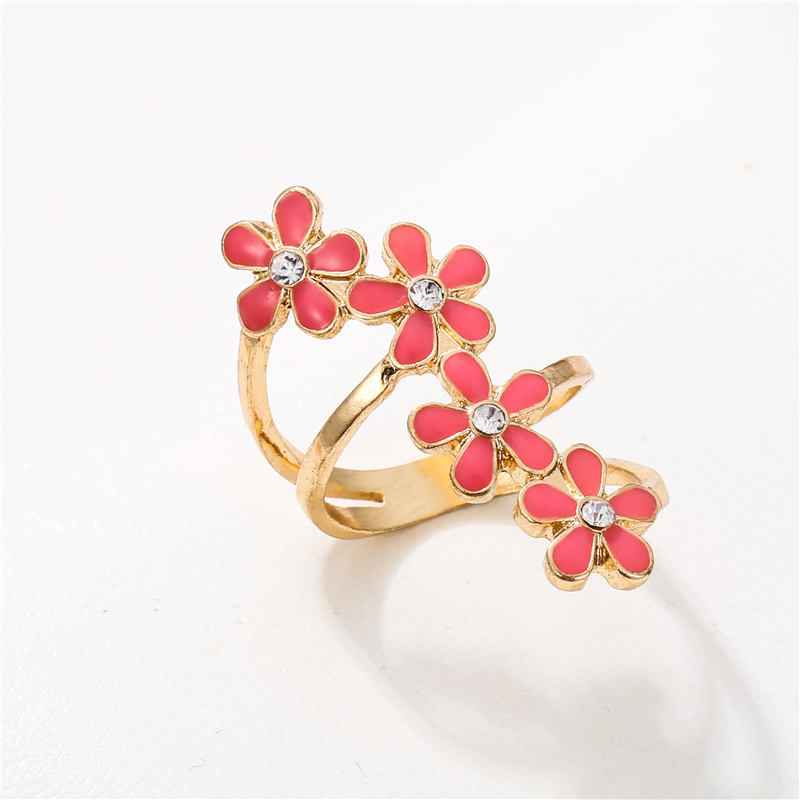 Gold Color Multi Pink Enamel Flowers Open Ring for Women Girl Wedding Rings Adjustable Knuckle Finger Jewelry in Wedding Bands from Jewelry Accessories