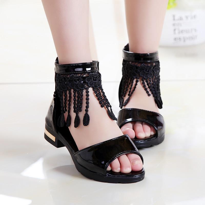 Lace Fringe Kids Girls Sandals Summer Gladiator Shoes ...