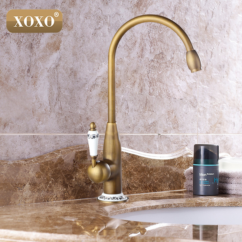 XOXOnew style antique brass finish faucet kitchen sink basin faucets mixer tap with ceramic hot and