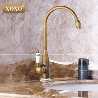 Free Shipping New Style Antique Brass Finish Faucet Kitchen Sink Basin Faucets Mixer Tap With Ceramic