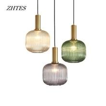 modern striped glass hanging lamp Nordic minimalist restaurant bar bedroom pendant lights