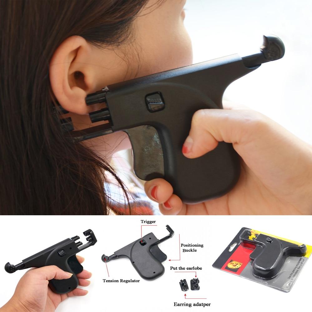 1Pc New Desgin No Pain Professional Safety Ear Piercing Gun Double Pistol Plug Stud Earrings Tool Ear Piercing Body Jewelry