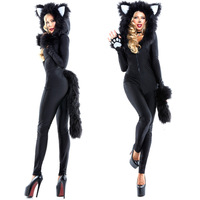 Cat Costume Women Halloween Fancy Party Dress Carnival Sexy Cosplay Leopard Outfits