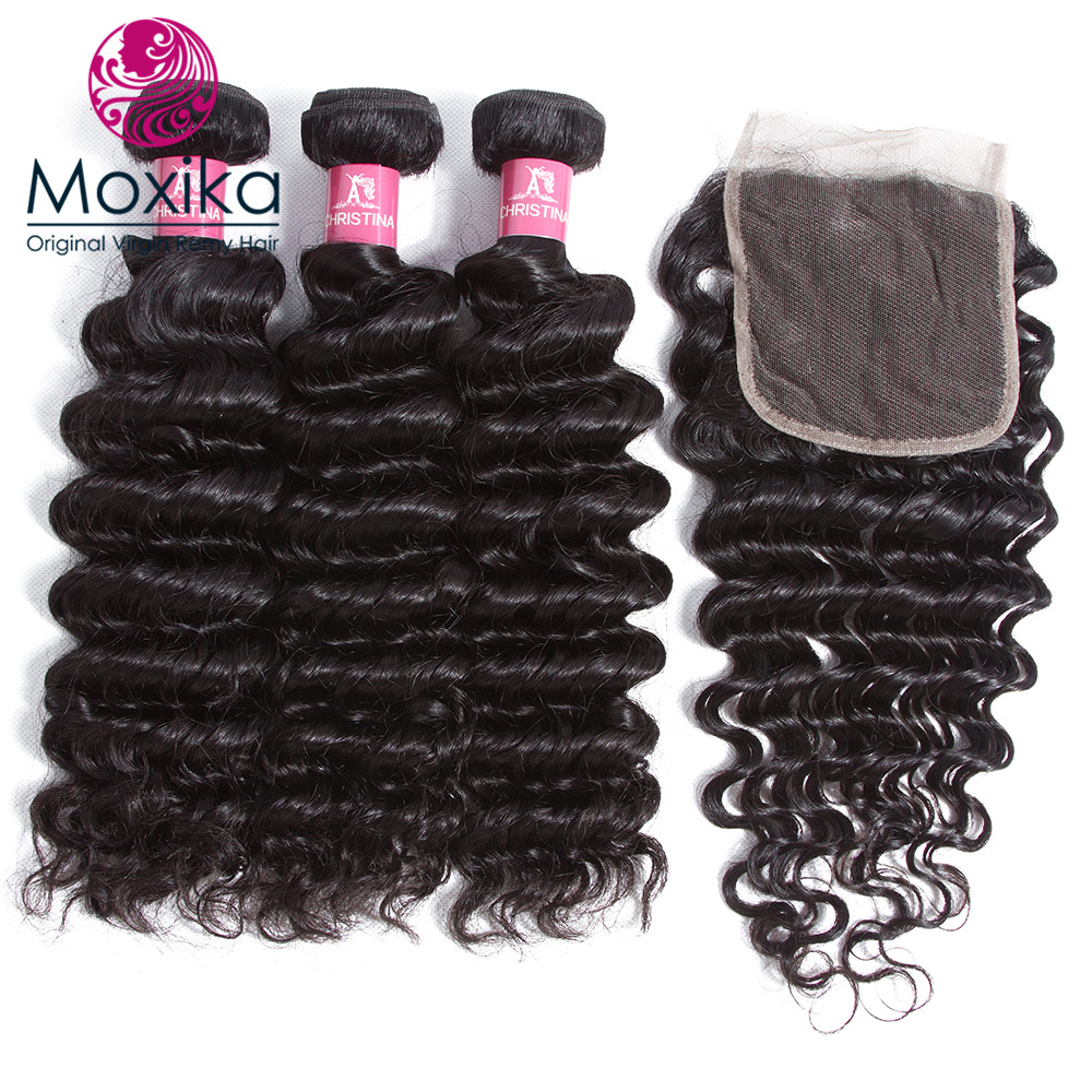 Brazilian Deep Wave Hair Bundles With Closure Remy Human Hair Bundles With Lace Closure Free Shipping