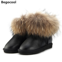 2017 Fashion Thick Natural Fox Fur Snow Boots Women UG Boots 100 Real Leather Waterproof Winter