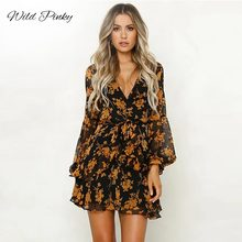 WildPinky Ladies Sexy Summer Autumn Dress Beach Floral Printed Long Sleeve Women Casual Mini Vestidos