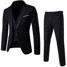 LAAMEI Mens 3 Pieces (jacket + Vest + Trouser) Male Busines Dress Slim Fit Suits Solid Casual Office Suits Outwear Asian L=US XS