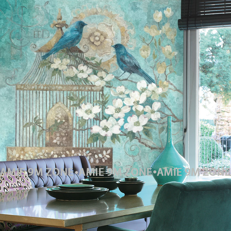 Cutom  vintage 3D turquoise color flowers and birds mural on the wall wholesale for home wall wall decoration free shipping