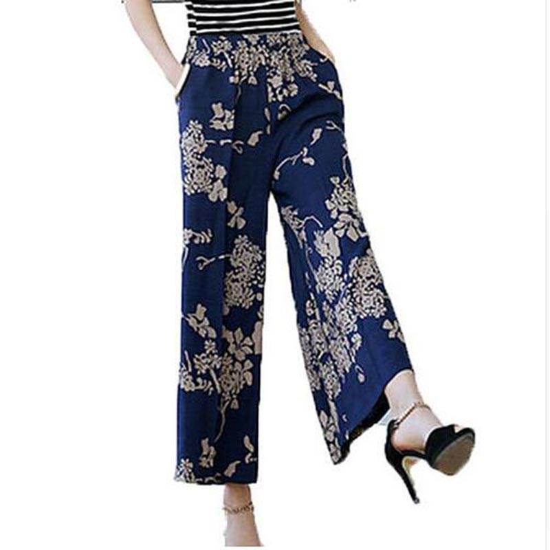 summer 2019 new cotton linen   pants   women middle-aged loose plus-size elastic waist trousers print   Wide     Leg     Pants   AE228