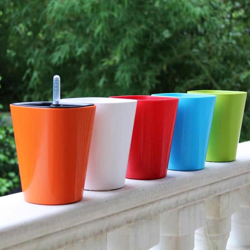 Five color Water level gauge automatic watering pot Intelligent plastic flower pots pastoral Corrosion resistance flower pot