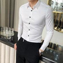 Alta qualidade camisa de seda dos homens primavera manga longa camisas de vestido dos homens sólido simples todo o jogo magro ajuste camisa masculina negócios formal wear