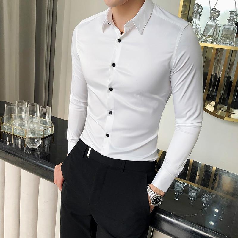 High Quality Silk Shirt Men Spring Long Sleeve Mens Dress Shirts Solid Simple All Match Slim Fit Men Shirt Business Formal Wear