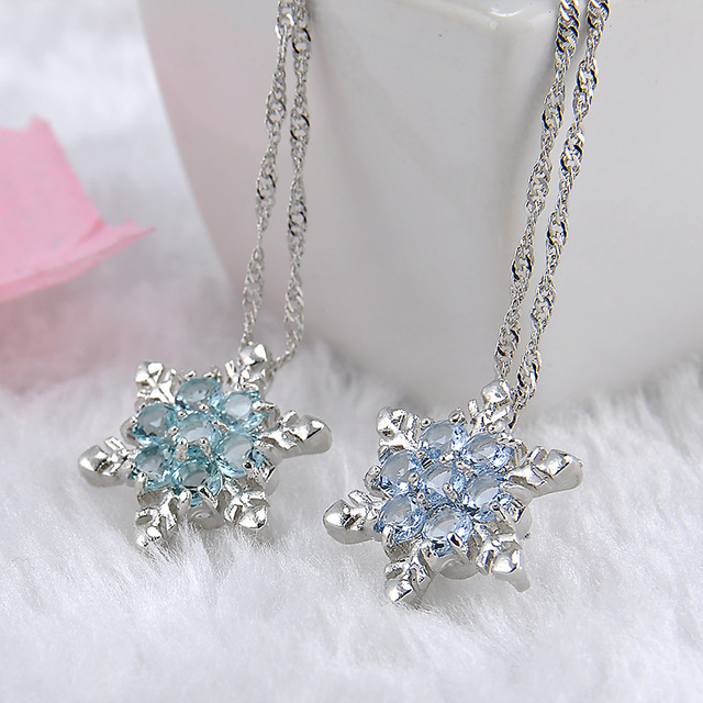 2018 cute vintage Blue Crystal Snow flake Flower Silver Necklaces Pendants Magic Snow Necklace beautiful Love Christmas Gift