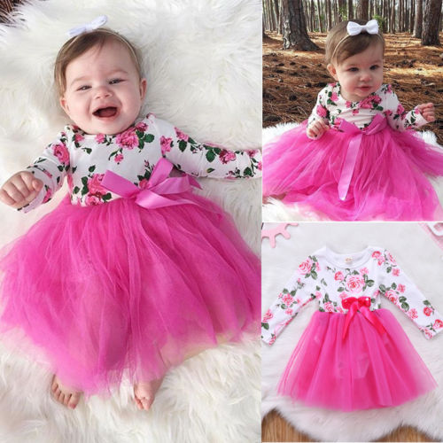 New Arriavl Prince Pink Dress Newborn Baby Girls Floral Romper Long