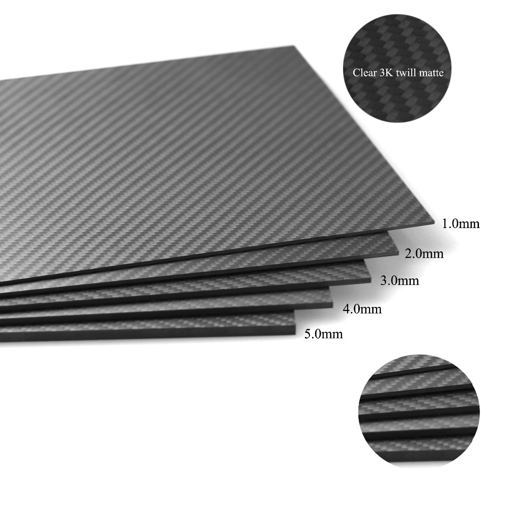 T700 2 piece 2.0X400X500mm 100%/Full Carbon fiber plates 3K twill matte sheets t700 mixed thickness 2 0mm and 4 0mm 400x500mm twill matte surface 3k 100% carbon fiber plate sheet for drone