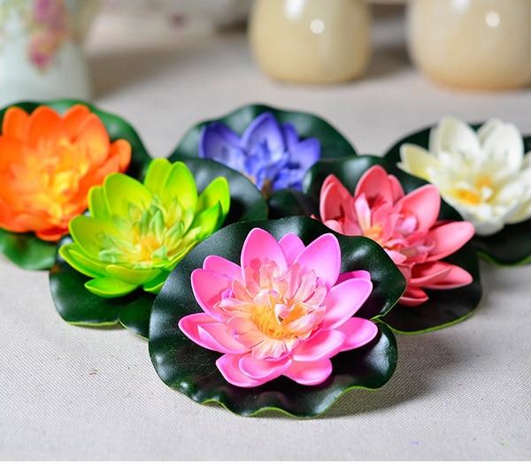 10pcs Artificial Flower Silk Plastic Flowers Fake Bouquet Water Lily Lotus  Decoration Boda Mariage Supplies( Part 94