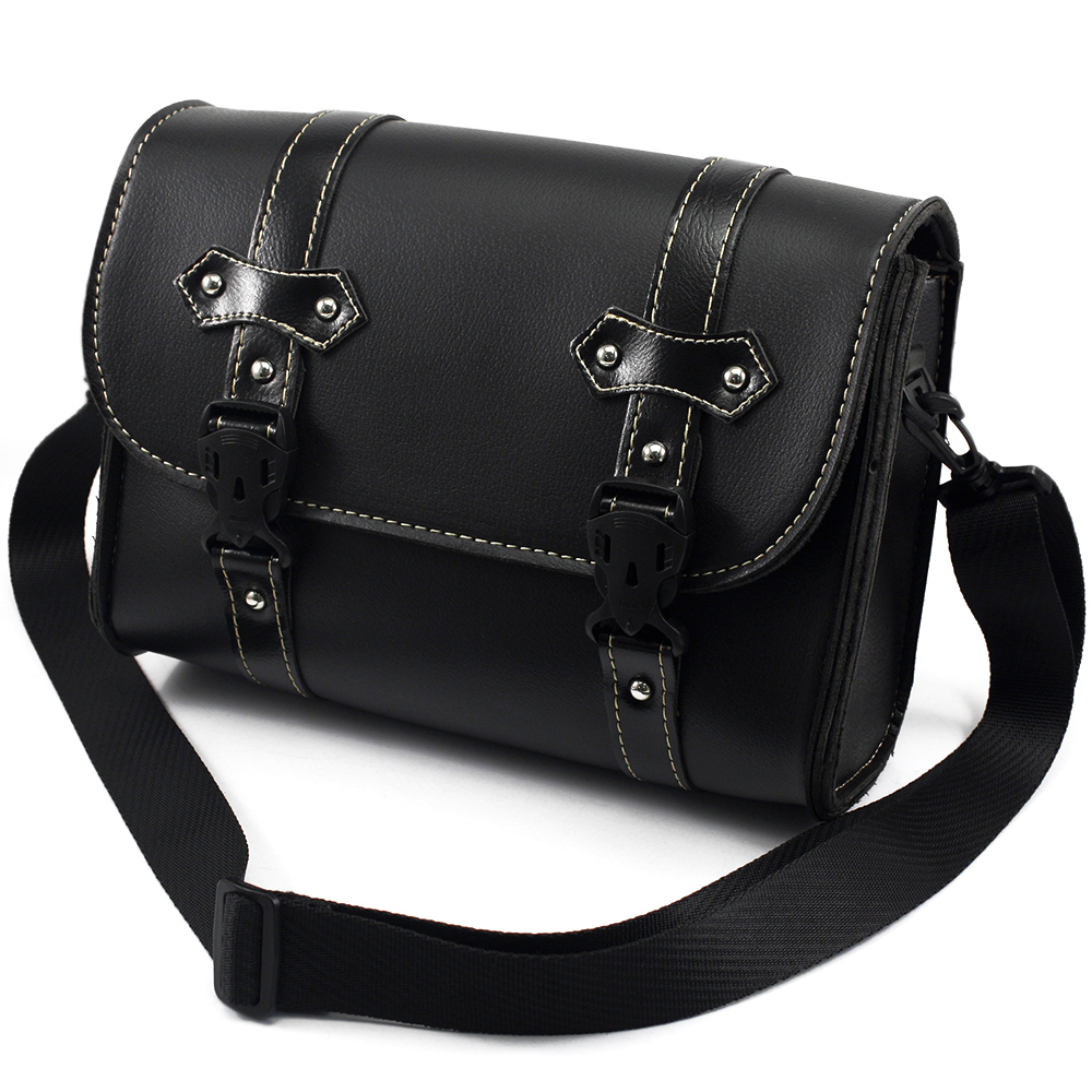 66325c149171 Motorcycle Saddle Bags Leather Black Side Tool Bag Luggage mochila moto for  Harley Universal Freeshipping D20