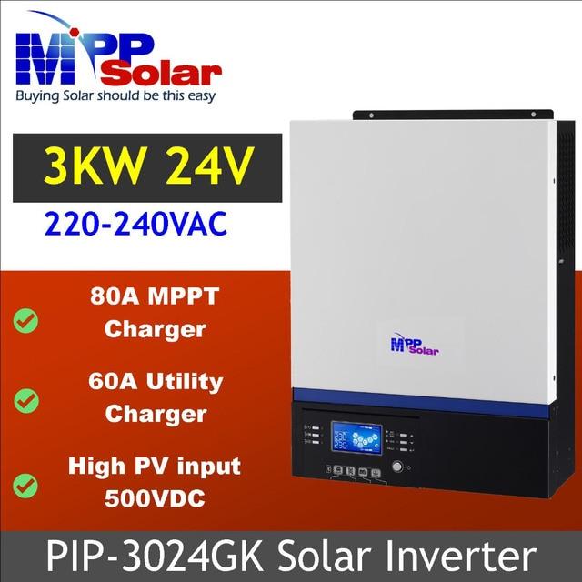 (GK) 3000w 24v 230vac high PV input 500vdc  + 80A MPPT solar charger + battery charger 60A + genset starter