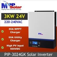(Gk) 3000w 24v 230vac alta pv entrada 500vdc + 80a mppt carregador solar 60a carregador de bateria genset starter