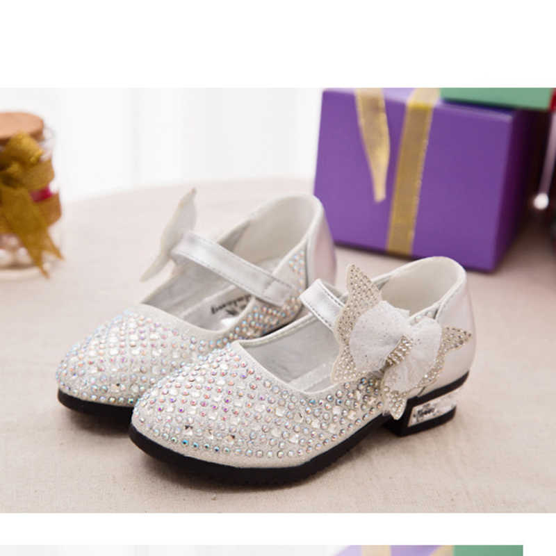 3877b05a9d New Children's Little Girl High Heel Rhinestone Gold Blue Silver Princess  Shoes For Girls Kids School Wedding Party Dress Shoes