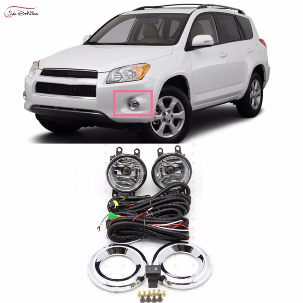 JanDeNing Car <font><b>Fog</b></font> Lights For <font><b>2010</b></font> -2012 <font><b>Toyota</b></font> <font><b>RAV4</b></font> Clear Front <font><b>Fog</b></font> Lamp Cover Trim Replace Assembly kit black (one Pair image