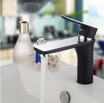 Brass bathroom sink basin faucet black, Copper single hole basin faucet mixer water tap, Antique wash basin faucet hot and cold tiger ran hot and cold basin mixer basin faucet white heightening basin faucet hole on stage