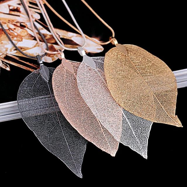 Long Chain Leaves Pendant Necklace 1