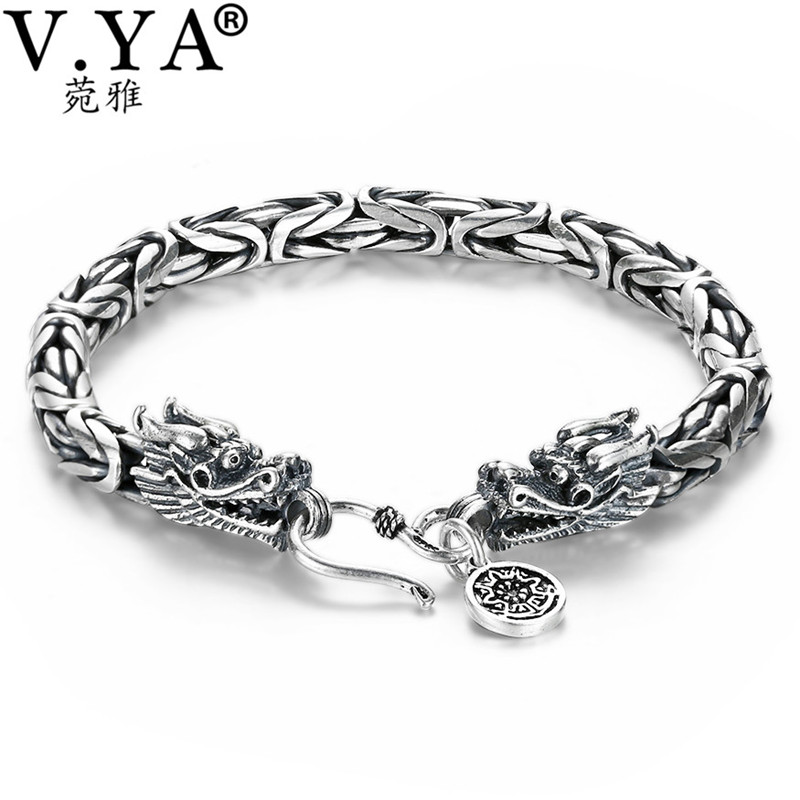 V.YA Real 925 Sterling Silver Dragon Bracelet for Men Male Vintage Heavy Bangles Bracelets Homme Silver Jewelry gimto smart bracelet men watches sport watch digital waterproof wristband heart rate sleep monitoring for android ios clock men