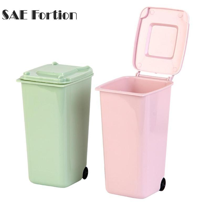 Mini Small Waste Bin Desktop Garbage Basket Table Home Office Trash Can  Cleaning Storage Container For Home Cleaning SQL8909