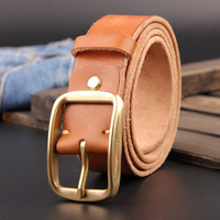 Top Vintage Designers Luxury Brand 100 Genuine Leather Brass Buckle Belts For Mens High Quality Male