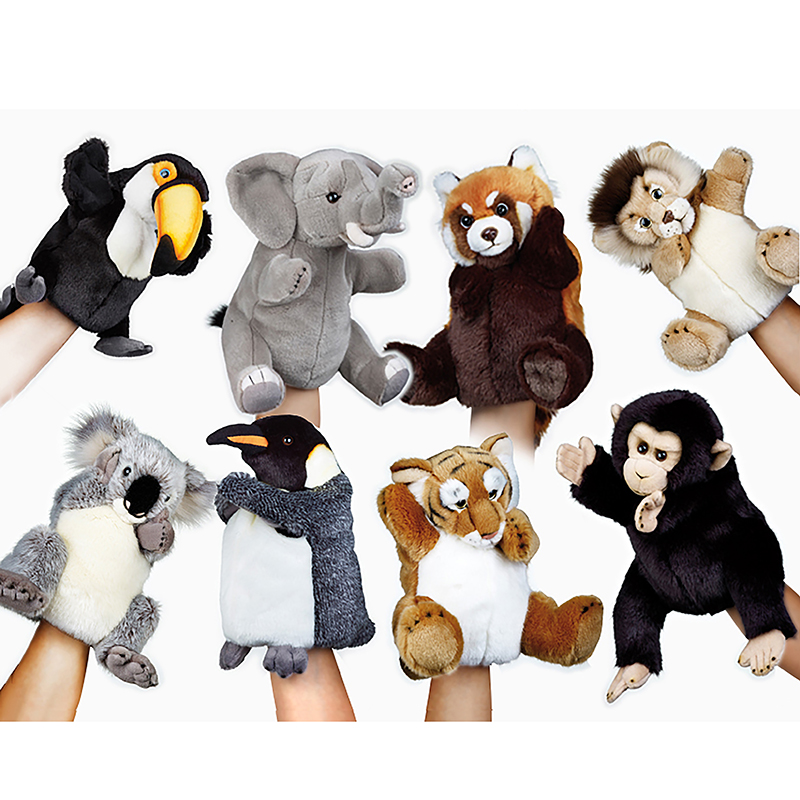 8Style high quality original Lion Tiger Panda Koala Chimpanzee Emperor penguin Tucan stuffed plush puppet toy сумка emperor mk20380 2014