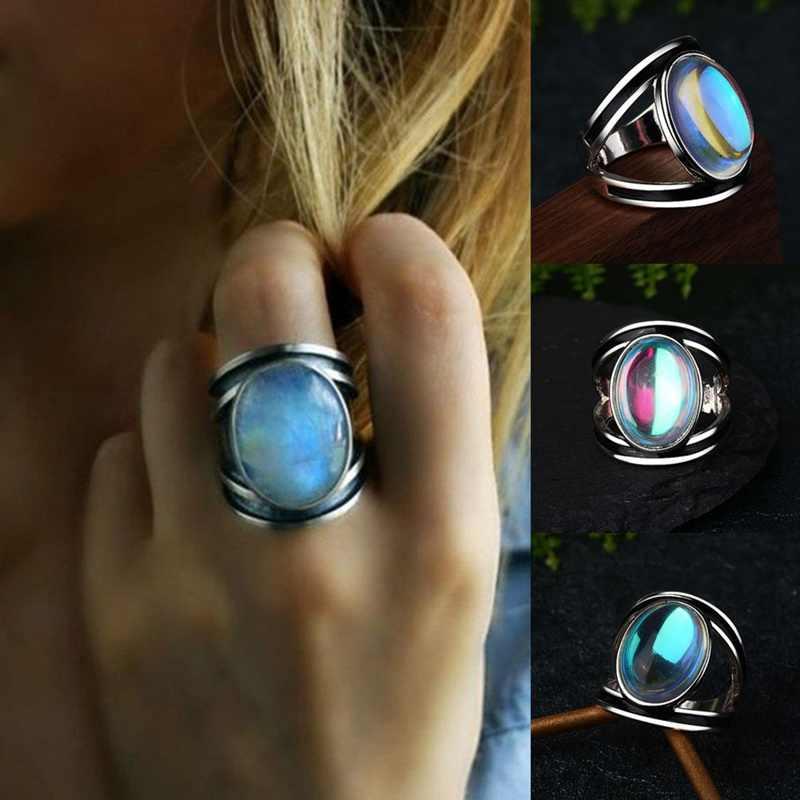 Женское кольцо с большим лунным камнем, уникальный стиль, цвет серебро, золото, свадебные ювелирные изделия, обещающее обручальное кольцо для женщин