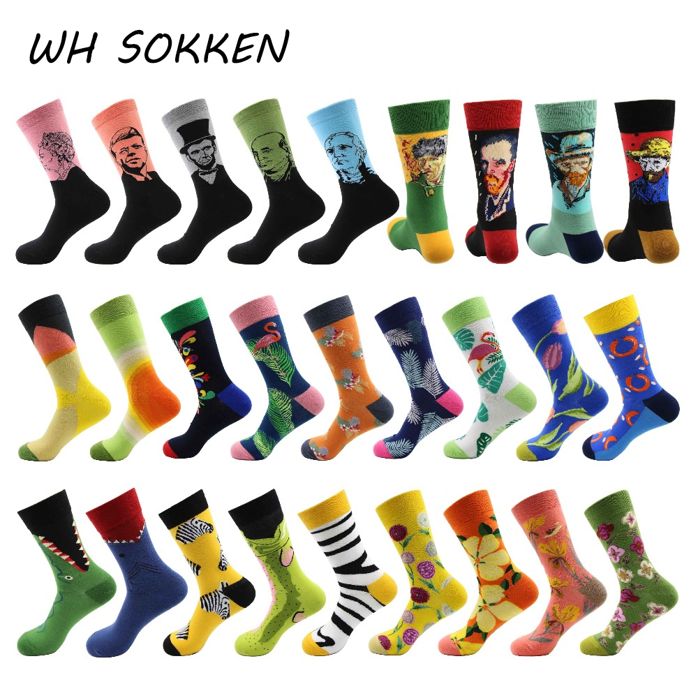 WH SOKKEN Novelty Gift Tidal Current Men's Cotton Socks Hip Hop Personality Happy Effect Casual Fashion Style 27 Styles